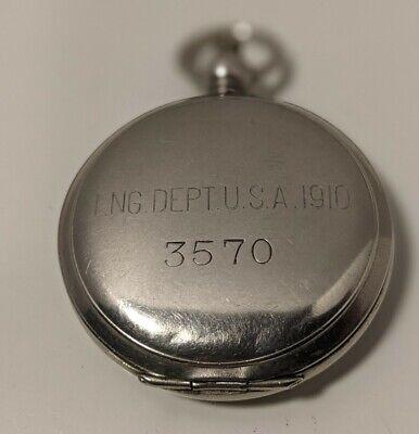 1910 WWI Engineering Dept. USA Military Compass Iszard Warren Co. Phila. Antique