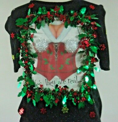 Adorable Cheeky Ugly Tacky Christmas Sweater Women Med One~of~a~kind!!! ()