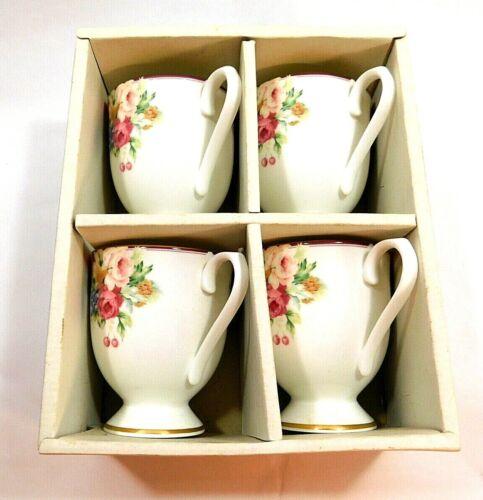 4 Mikasa Rosemead Footed Bone China Mugs Coffee Tea Cups