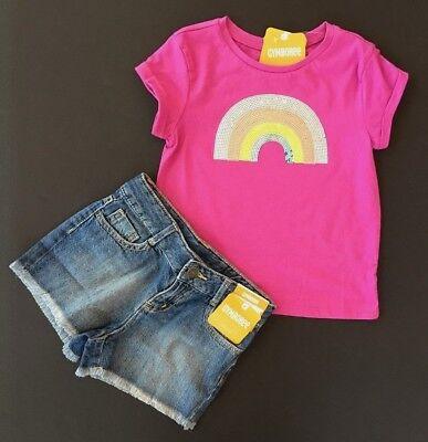 (NWT Gymboree Girls Rainbow Sequin Tee & Jean Shorts Size 7 8 Retail $49.90      )