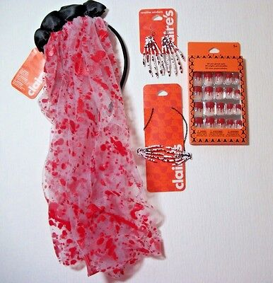 CLAIRE'S HALLOWEEN Bloody VEIL, Bloody NAILS, Bloody NECKLACE & EARRINGS All NEW