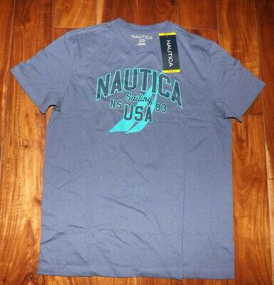 NAUTICA Blue Indigo Graphic Logo Crewneck T Shirt M Medium NWT Mens