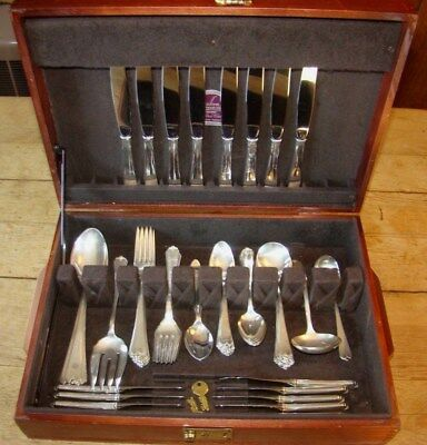 REDUCED!! Lotus by Watson Wallace Sterling Silver Flatware Service for 8  63 Pcs