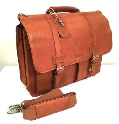 Kenneth Cole Laptop Briefcase Genuine Leather Crossbody Double Gusset Lawyer Bag (Double Gusset Laptop Briefcase)