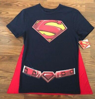 Superman Cape For Men (Men's SUPERMAN DC COMICS Navy T-shirt with Red Removable Cape Size M or L NEW)