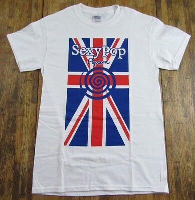 SEXYPOP Gourmet Popcorn British Flag Souvenir White T Shirt Size S (NWOT)
