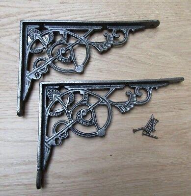 "PAIR OF 10""  ANTIQUE IRON TRELLIS cast iron ornate shelf support wall brackets"