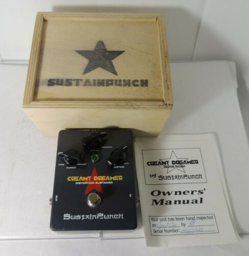 Sustain Punch Creamy Dreamer Distortion Sustainer Fuzz Effects Pedal w/Crate