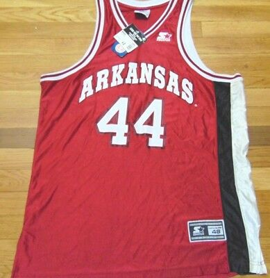 NWT VTG 90'S STARTER NCAA ARKANSAS RAZORBACKS BASKETBALL JERSEY SIZE L 48 Arkansas Razorbacks Ncaa Basketball