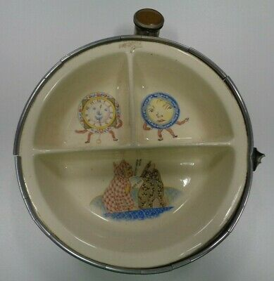 Vintage Metal/Ceramic Child's Warming Dish, Nursery Rhyme Theme, Cats Clock Dish