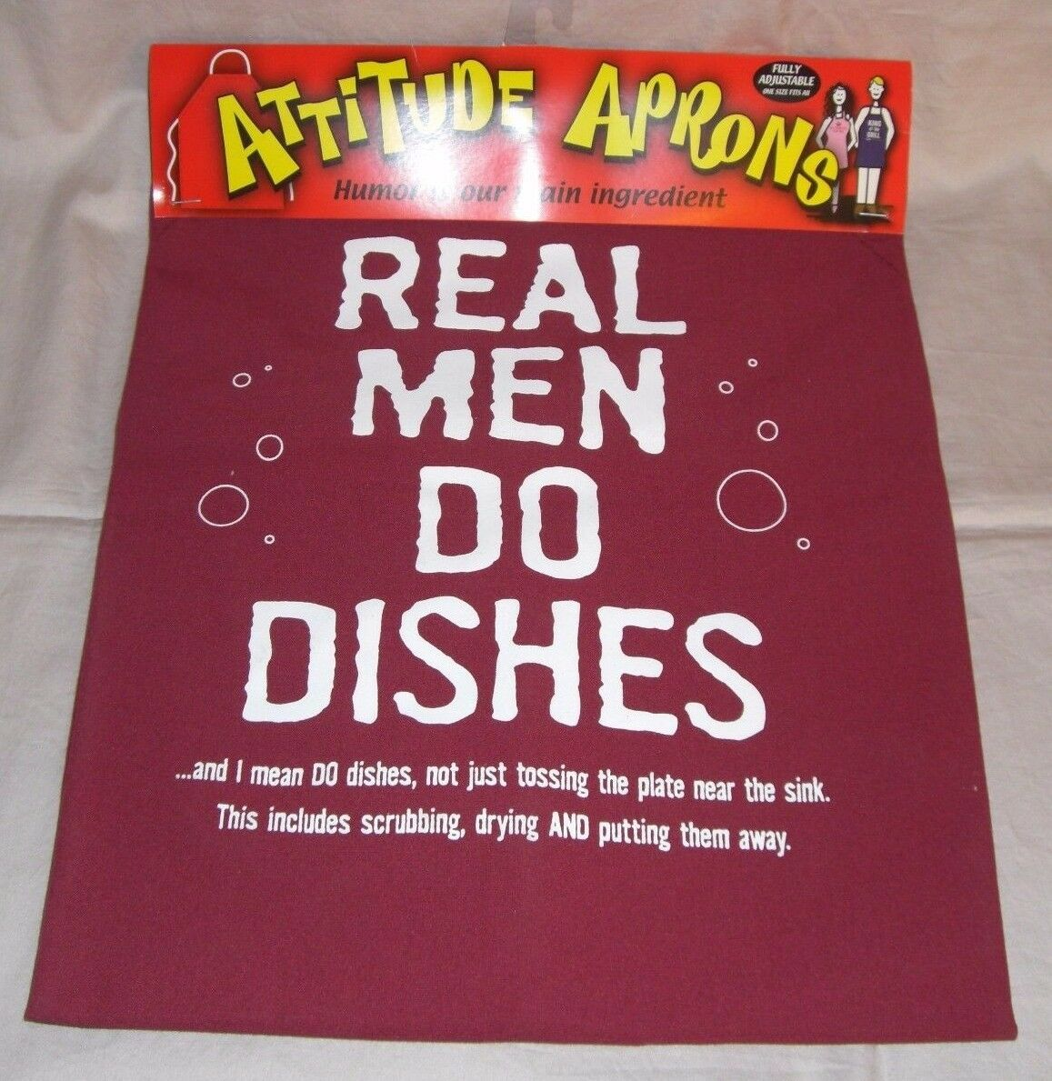 "Attitude Aprons Adjustable - ""Real Men Do Dishes"""