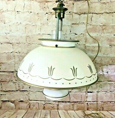 vintage hanging swinging lamp metal converted oil lamp cream electric plug in