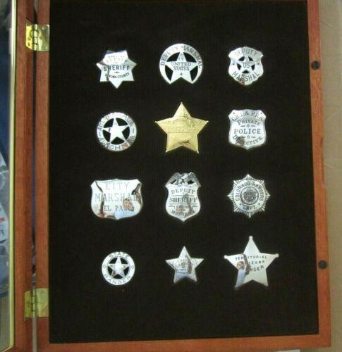 1987 Sterling Silver Police Sheriffs Badges in wood case