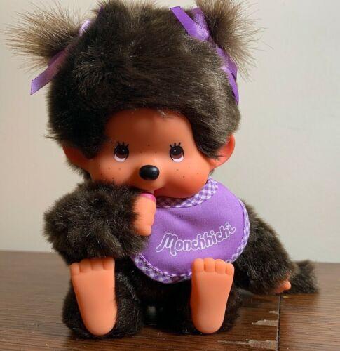 "Monchhichi Plush Purple Bib Girl 9"" Stuffed Animal Monkey Plastic Face Japan"