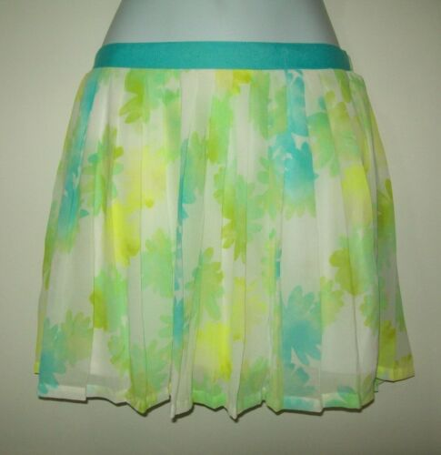 Cherokee Girls Skirt Size 10 12 Blue Green Floral Pleated Pullon Casual Spring