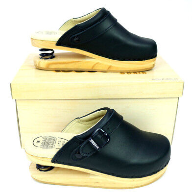 J Rubio Solid Wood Platform Spring Z-Coil Navy Clog Leather Luver Diff Sizes
