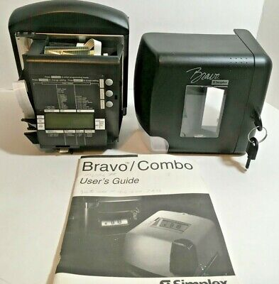 Simplex Bravo Time Punch Clock Date Stamp Clock In Out Job Parts Repair Untested
