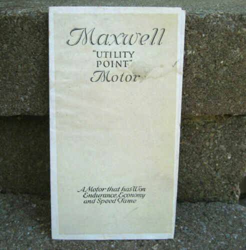 Vintage Maxwell Motor Pamphlet Brochure