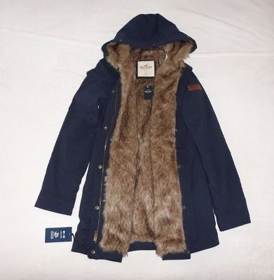 Womens Hollister by Abercrombie & Fitch Faux Fur Cozy Water Resistant Jacket L