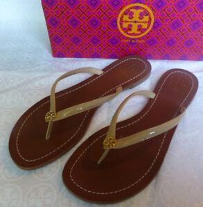 1f2e22965 Tory Burch TERRA Sun Beige Logo Flip Flop Thong Sandal Size 10 New In Box