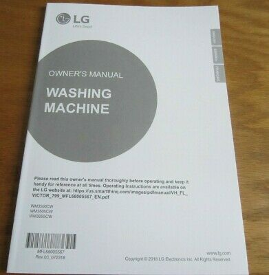LG Front Loader Washing Machine Owner's Manual Only WM3500CW for sale  Shipping to Nigeria