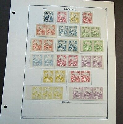 LIBERIA - FINE COLLECTION OF EARLY FOURNIER FORGERIES 1864/69 - ON ORIGINAL PAGE