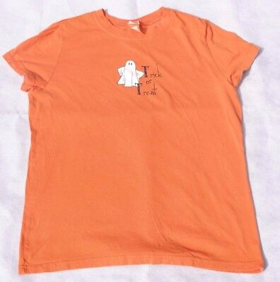 Women's Fitted T-Shirt Orange Ghost Trick or Treat 100% Cotton Halloween Size XL