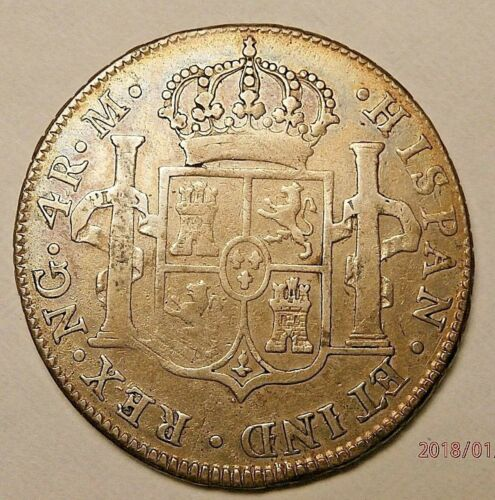 1817 GUATEMALA 4 REALS A SCARCE COLONIAL MINT SILVER HALF DOLLAR VF S191