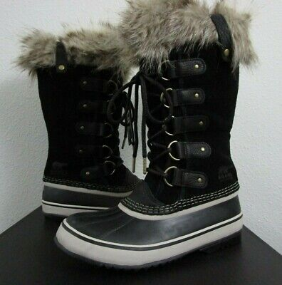 NIB Womens Sorel Joan of Arctic Leather Insulated -25F Snow Winter Boots Black