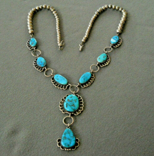 """LEONARD JIM Native American Turquoise Sterling Silver Lariat Bead Necklace 22"""""""