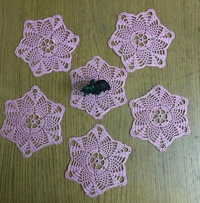 New Handmade Set Of 12 Doilies In Shiny Pink, Great As Coasters