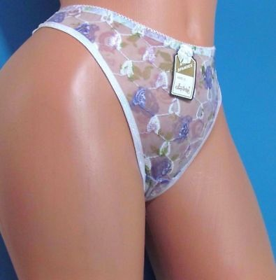B4 Eva Cervantes Embroidered Floral Sheer lace Sexy Thong Sissy Bikini Panties L