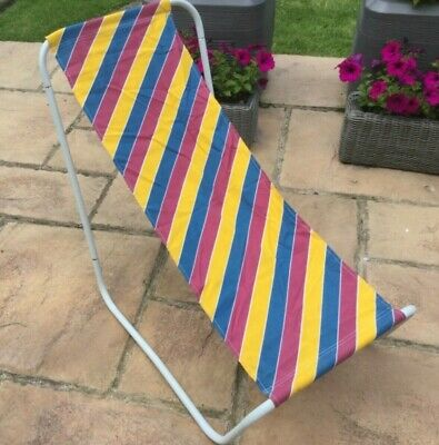 pair set mid century vintage retro fold up camping chairs VW camper seaside VGC