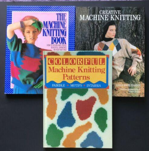 Lot of 3 Machine Knitting Books Design How to Fairisle Intarsia Sweater Patterns