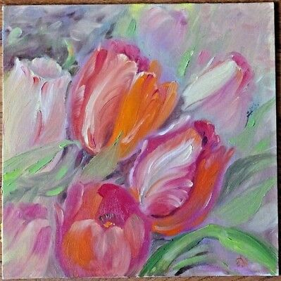 OIL PAINTING HAND PAINTED FLOWERS TULIP CANVAS ON CARDBOARD for sale by artist ](Cardboard For Sale)