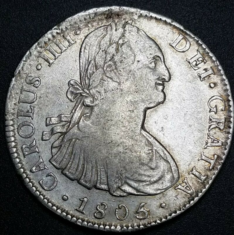 Rare Overdate Error 1805/4 Mo TH 8 Reale Mexico World Colonial Milled Silver $1