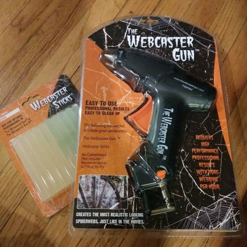 HALLOWEEN Webcaster gun haunted house spider web decor. + extra 20 glue sticks.