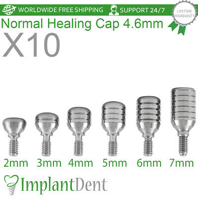 10 Healing Cap Normal 4.6mm For Dental Implant Internal Hex Prosthetic Lab
