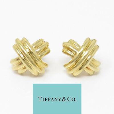 NYJEWEL Tiffany & Co. 18K Yellow Gold Signature X Crossover Stud Earrings