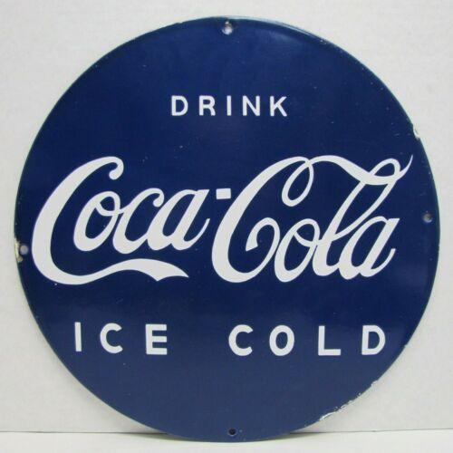 DRINK COCA-COLA ICE COLD Blue & Whte Porcelain Sign Coka Soda Fountain Ad