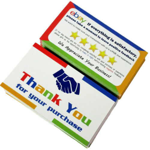 50 for eBay Thank You for Your Order Cards Business Color Double Sided