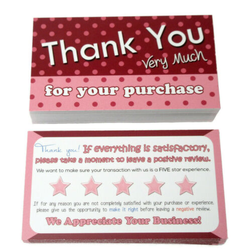 50 Thank You for Your Order Cards for Poshmark, Mercari, eBay, etsy, Sellers