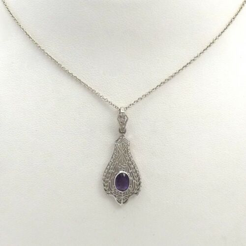 Art Deco 14K White Gold Amethyst Filigree Pendant Necklace 16""