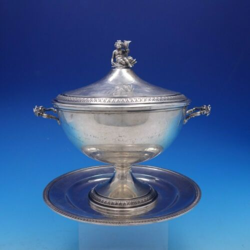 Empire Italian 800 Silver Soup Tureen with Cherub and Underplate (#4289)