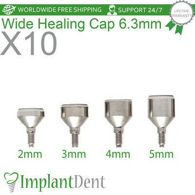 10 Healing Cap Wide 6.3mm For Dental Implant Internal Hex Prosthetic Lab