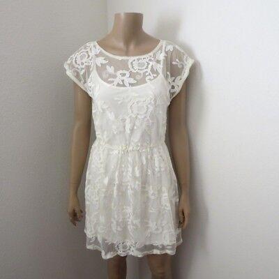 Nwt Hollister Damen Spitzen-Overlay Kleid Größe L Weiß