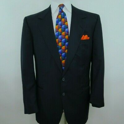 Versace V2 Saks Mens Wool Dark Blue Striped Blazer Jacket Sport Coat 40/42 R USA