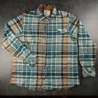 Rocawear Master Builders Green Brown Plaid Dress Shirt Long Sleeve Size Xl