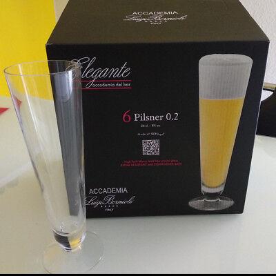 6er Set Luigi Bormioli Biergläser / Pilsner - Elegante, 0,25 l – NEU und OVP Bier Pilsner Set