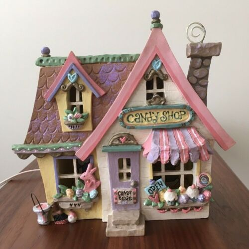 Kurt S. Adler Spring Town Candy Shop Lighted House Works with Box